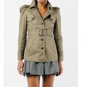 BB Dakota Olive Belted Trench puff sleeves M
